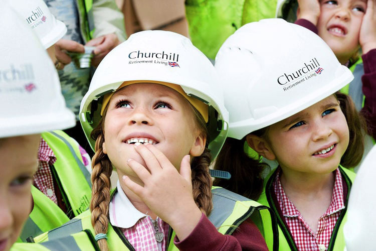 Children at Churchill retiramen livin photocall